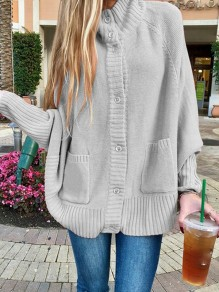 Grey Patchwork Buttons Pockets Band Collar Long Sleeve Fashion Sweater Pullover