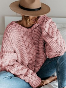 Pink V-neck Long Sleeve Loose Knit Twist Cute Pullover Sweater