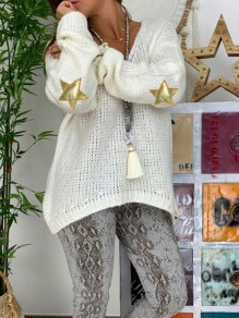 White Patchwork Appliques V-neck Long Sleeve Oversize Pullover Sweater