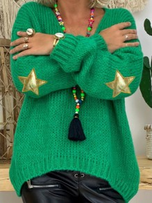 Green Patchwork Star Appliques V-neck Long Sleeve Oversize Pullover Sweater