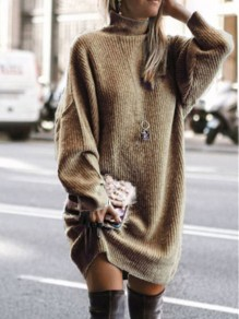 Brown Patchwork Irregular High Neck Long Sleeve Fashion Sweater Pullover