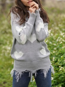 Grey-White Love Heart Ripped Destroyed Off Shoulder Valentine's Day Oversized Casual Pullover Sweater