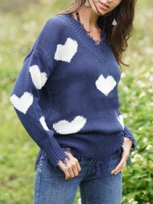 Blue-White Love Heart Ripped Destroyed Off Shoulder Valentine's Day Oversized Casual Pullover Sweater