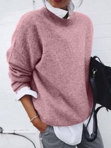 Red Patchwork False 2-in-1 Long Sleeve Fashion Sweater Pullover