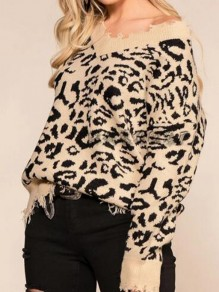 Khaki-Black Leopard Pattern Off Shoulder Ripped Destroyed Casual Oversized Pullover Sweater