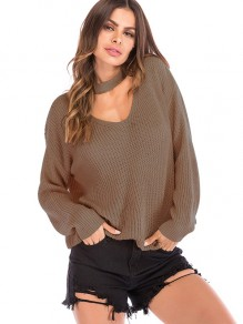 Pink Halter Neck V-neck Long Sleeve Oversize Pullover Sweater
