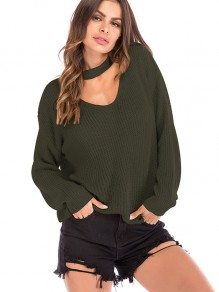 Army Green Halter Neck V-neck Long Sleeve Oversize Pullover Sweater