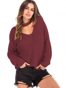 Burgundy Halter Neck V-neck Long Sleeve Oversize Pullover Sweater