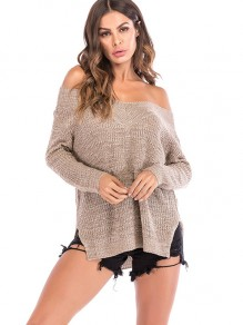 Khaki One Shoulder Long Sleeve Oversize Pullover Sweater
