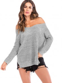 Grey One Shoulder Long Sleeve Oversize Pullover Sweater