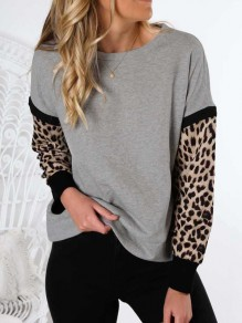 Grey Leopard Print Round Neck Long Sleeve Fashion Sweatshirt