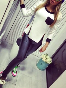 White Patchwork Zipper Double Slit Bodycon Comfy Going out Sweatshirt