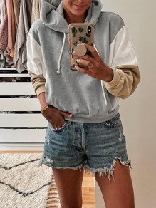Grey Drawstring Hit Color Bodycon Comfy Going out Sweatshirt