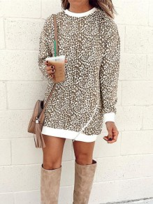 Brown Leopard Print Zipper Round Neck Long Sleeve Fashion Sweatshirt