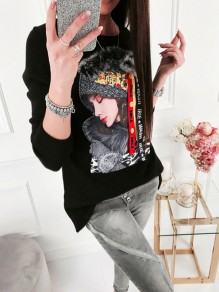 Black Floral Pattern Bodycon Long Sleeve Going out Sweatshirt