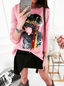 Pink Floral Pattern Bodycon Long Sleeve Going out Sweatshirt