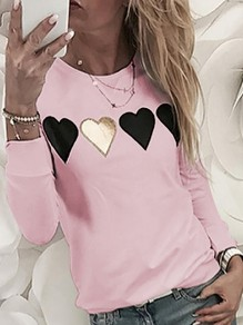 Pink Floral Heart Pattern Bodycon Comfy Going out Sweatshirt