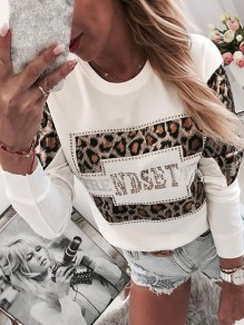 White Patchwork Rhinestone Pattern Bodycon Long Sleeve Fashion Sweatshirt
