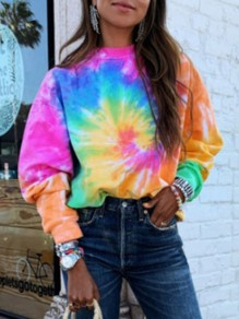 Pink Colorful Tie Dye Round Neck Long Sleeve Fashion Casual Sweatshirt