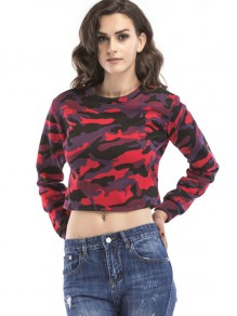 Red Camouflage Print Round Neck Long Sleeve Crop Sweatshirt
