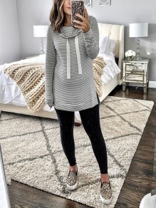 Black-White Striped Print Hooded Long Sleeve Naketano Casual Maternity Sweatshirt