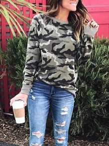 Camouflage Print Comfy Round Neck Long Sleeve Fashion Sweatshirt