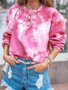 Pink Tie Dye Print Round Neck Long Sleeve Casual Sweatshirt