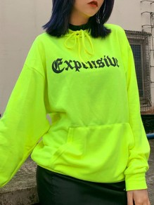 Neon Green Drawstring Long Sleeve Oversize Hooded Fashion Sweatshirt
