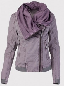 Purple Pockets Zipper Hooded Long Sleeve Fashion Sweatshirt