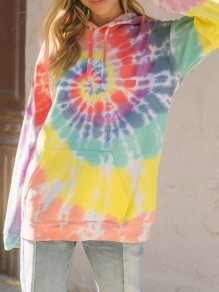 Yellow Tie Dye Drawstring Pocket Long Sleeve Casual Hip Hop Hooded Sweatshirt