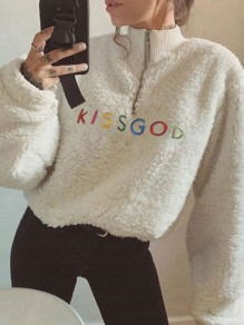 "White Embroidery ""KISSGOD"" Zipper Band Collar Long Sleeve Thanksgiving Day Teddy Pullover Sweatshirt"