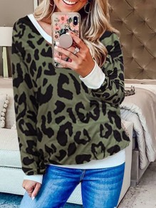 Army Green Leopard Print Off Shoulder Round Neck Long Sleeve Casual Sweatshirt