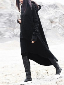 Black Plain Irregular oversize Long Sleeve Hooded Casual Sweatshirt
