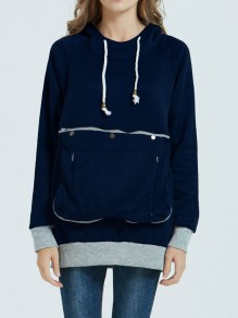 Navy Blue Zipper Pockets Drawstring Hooded Long Sleeve Sweatshirt