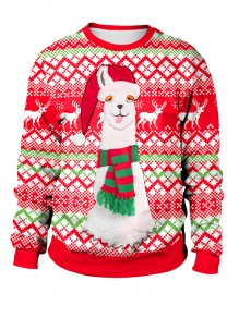 Red Patchwork Christmas Santa Print Round Neck Fashion Sweatshirt