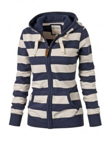 Blue Striped Zipper Hooded Long Sleeve Fashion Sweatshirts Hoodie