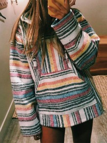 Blue Striped Print Pockets Hooded Long Sleeve Fashion Sweatshirt