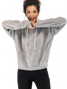 Grey Striped Drawstring Pockets Hooded Long Sleeve Sweatshirt