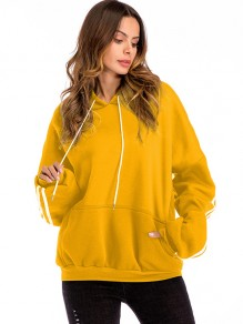 Yellow Striped Drawstring Pockets Hooded Long Sleeve Sweatshirt