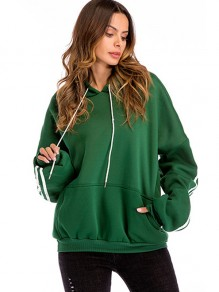 Green Striped Drawstring Pockets Hooded Long Sleeve Sweatshirt