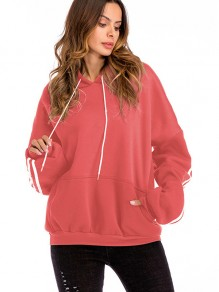 Red Striped Drawstring Pockets Hooded Long Sleeve Sweatshirt
