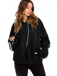 Black Striped Drawstring Pockets Hooded Long Sleeve Sweatshirt