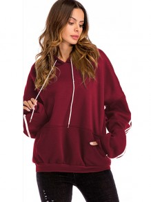 Burgundy Striped Drawstring Pockets Hooded Long Sleeve Sweatshirt