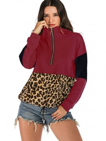 Burgundy Leopard Zipper Drawstring Hooded Long Sleeve Sweatshirt