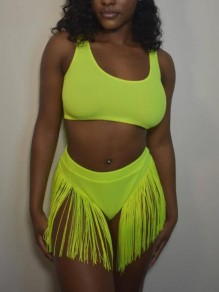 Neon Green Patchwork Tassel Square Neck Sheer Two Piece Beachwear Swimwear
