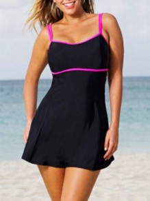 Black Spaghetti Strap Square Neck Sleeveless One Piece Fashion Swimwear