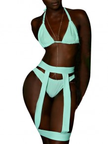 Light Blue Cut Out Halter Neck Backless High Waisted Two Piece Bikini Swimwear