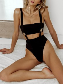 Black Plain Shoulder-Strap Ttrendy Collarless Going Out Swimwear Bikini