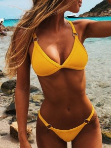 Yellow Patchwork Buckles Two Piece Beachwear Honey Girl Swimwear