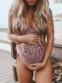 Pink Leopard Print Adjustable-straps V-neck Cute Maternity Swimwear